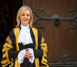 The new Lord Chancellor Liz Truss, the first woman ever to hold the role, arrives at the Judge's entrance to the Royal Courts of Justice, in central London before being installed.